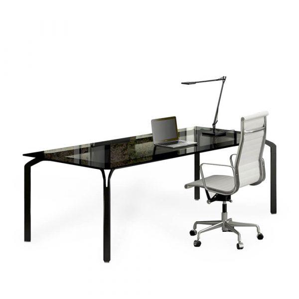 scrivania ufficio piano vetro